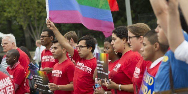 Demonstrators with the group GetEQUAL hold a protest with lesbian, gay, bisexual and transgender (LGBT) individuals affected