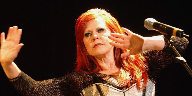 Singer Kate Pierson of The B-52's performs at Madison Square Garden on Thursday, Aug. 7, 2008 in New York. (AP Photo/Evan Ago