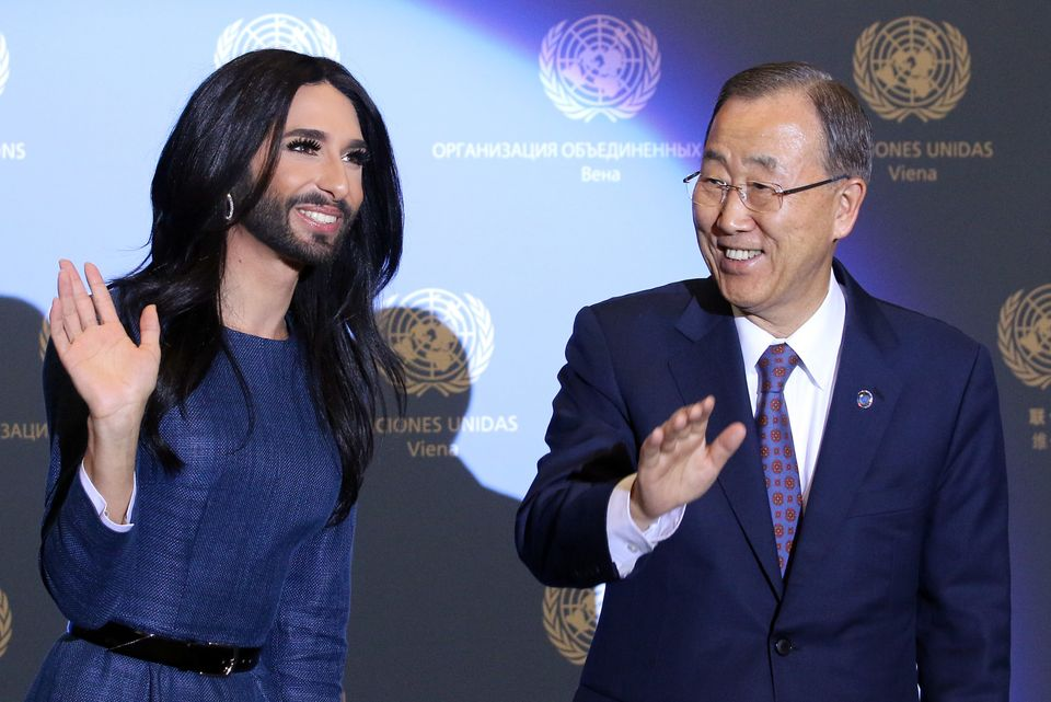 Austrian singer and Eurovision Song Contest winner Conchita Wurst and U.N. Secretary-General Ban Ki-moon, right, wave after W