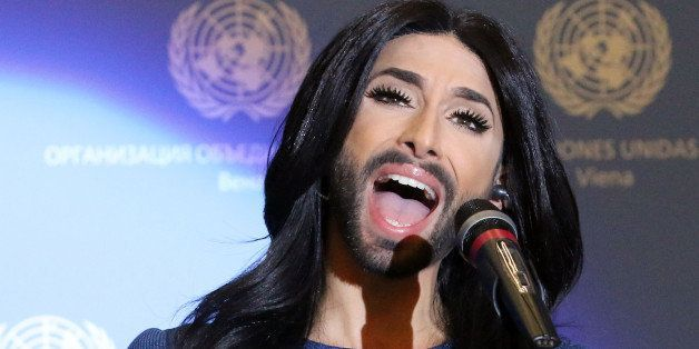 Austrian singer and Eurovision Song Contest winner Conchita Wurst performs on stage during U.N. Secretary-General Ban Ki-moon