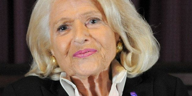 NEW YORK, NY - OCTOBER 16: Edie Windsor speaks onstage during the Pioneer's Speakers Series at Paramount Screening Room at the Viacom Building on October 16, 2014 in New York City. (Photo by Brad Barket/Getty Images for Logo TV)