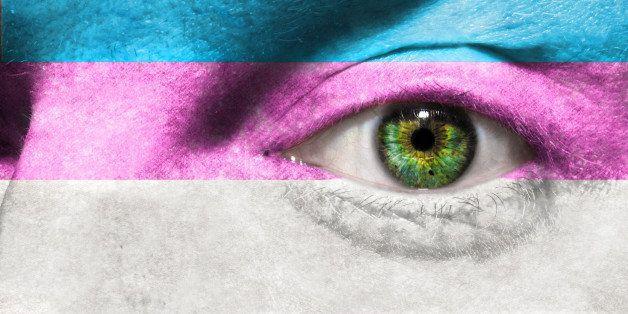 transgender flag painted on...