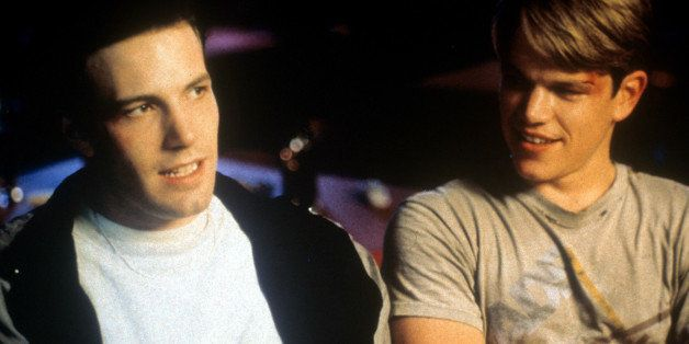 Ben Affleck sitting beside Matt Damon in a scene from the film 'Good Will Hunting', 1997. (Photo by Miramax/Getty Images)