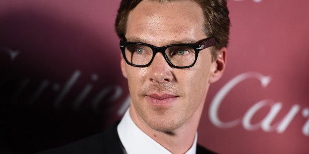 """Benedict Cumberbatch, of """"The Imitation Game"""", poses in the press room after winning the ensemble performance award at the 26"""