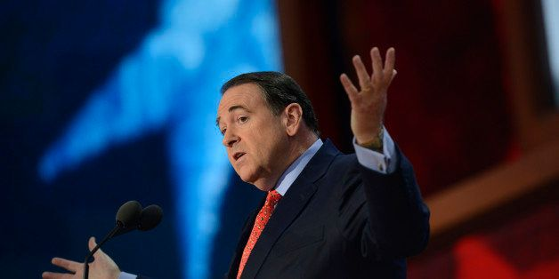 Former US presidential contender Mike Huckabee speaks during the third day of the 2012 Republican national Convention at the