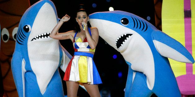 FILE - In this Feb. 1, 2015, file photo, singer Katy Perry performs during halftime of the NFL Super Bowl XLIX football game