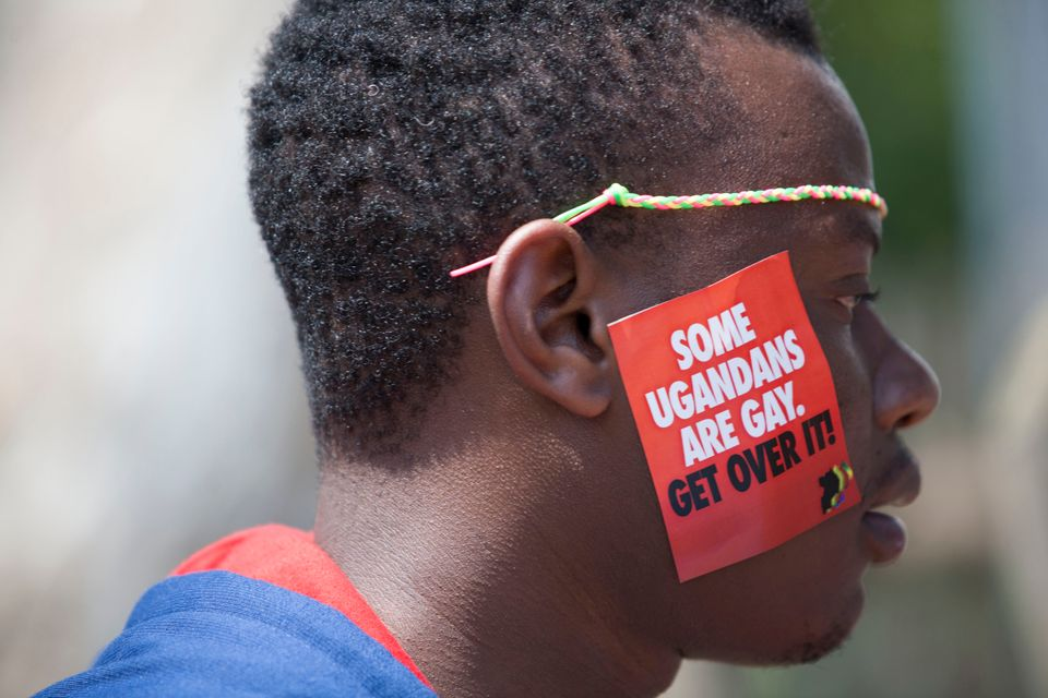 A Ugandan man is seen during the 3rd Annual Lesbian, Gay, Bisexual and Transgender (LGBT) Pride celebrations in Entebbe, Ugan