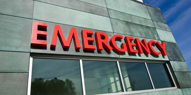 Emergency sign on contemporary building