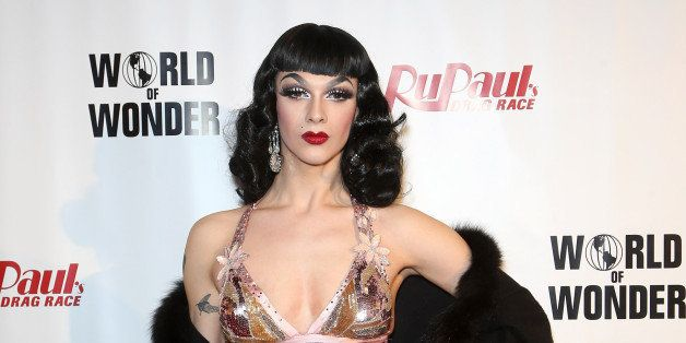 LAS VEGAS, NV - FEBRUARY 20:  Cast member of season seven of 'RuPaul's Drag Race' Violet Chachki arrives at a viewing party f