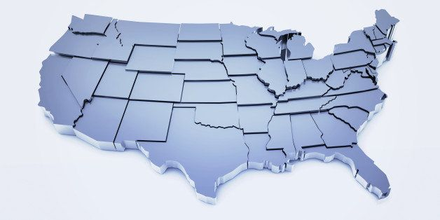 3D illustration of United States based on public domain map of USA found at: http://smartskies.nasa.gov/stan.html