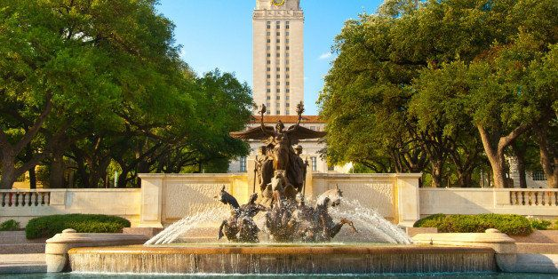 University of Texas Littlefield Fountain (1933 sculpture) by Pompeo Coppini and 307 ft tall UT Tower - Austin, Texas, USA