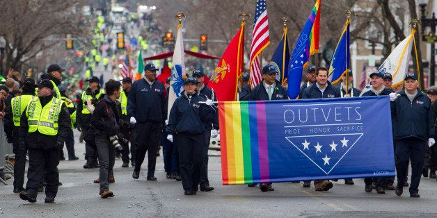 BOSTON - MARCH 15: Massachusetts Congressman Seth Moulton marches with OUTVETS, a non-profit that highlights the rights and c