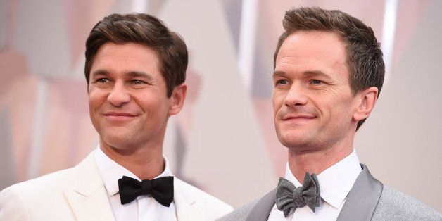 David Burtka, left, and Neil Patrick Harris arrive at the Oscars on Sunday, Feb. 22, 2015, at the Dolby Theatre in Los Angele
