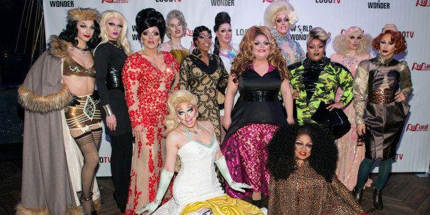 NEW YORK, NY - FEBRUARY 23:  (Back row L-R) Violet Chachki, Pearl, Mrs. Kasha Davis, Max, Jasmine Masters, Sasha Belle, Ginge