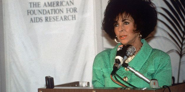 British-born American actress Elizabeth Taylor, veteran campaigner and film star attends a conference on AIDS in Florence, It