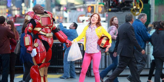 NEW YORK, NY - MARCH 27:  Tituss Burgess and Ellie Kemper on the set of 'The Unbreakable Kimmy Schmidt' on March 27, 2014 in