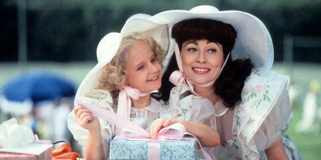 Actress Faye Dunaway and Mara Hobel on the set of Paramount Pictures movie ' Mommie Dearest' in 1981. (Photo by Michael Ochs