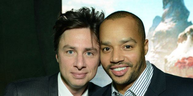 "Zach Braff and Donald Faison attend the World Premiere of ""Oz The Great and Powerful"" after party on Wednesday, Feb. 13, 2013"