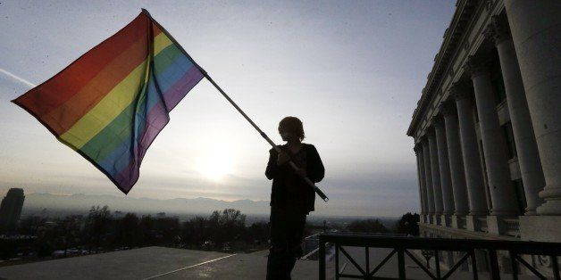 Corbin Aoyagi, a supporters of gay marriage, waves his flag during a rally at the Utah State Capitol, Tuesday, Jan. 28, 2014,