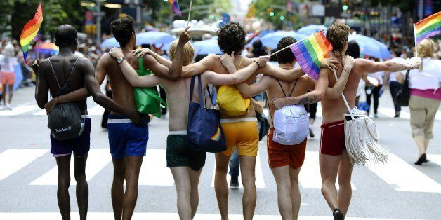 Marchers walk down 5th Avenue during the 2012 New York Gay Pride parade in New York on June 24, 2012. The 43rd-annual parade