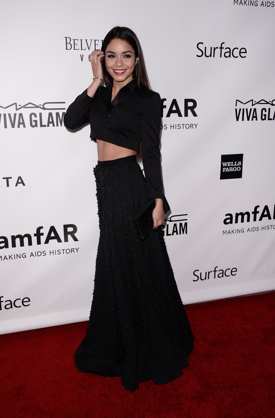Actress Vanessa Hudgens arrives at the fourth annual amfAR Inspiration Gala at Milk Studios on Thursday, Dec. 12, 2013 in Los