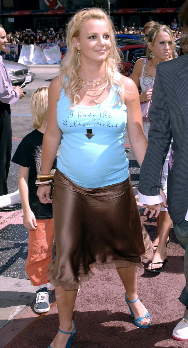 Yes, Britney Spears looked cute in that top but that brown satin skirt was not the best thing she's ever worn.