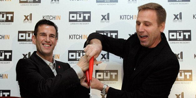 Ian Reisner, left, and Mati Weiderpass, co-owners of The Out NYC hotel, cut the ribbon for New York's new gay resort hotel, T