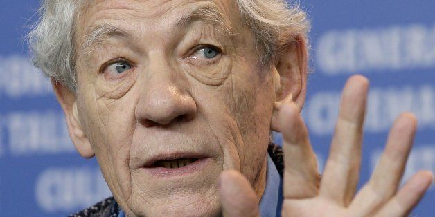 Actor Sir Ian McKellen gestures during the press conference for the film Mr. Holmes at the 2015 Berlinale Film Festival in Be