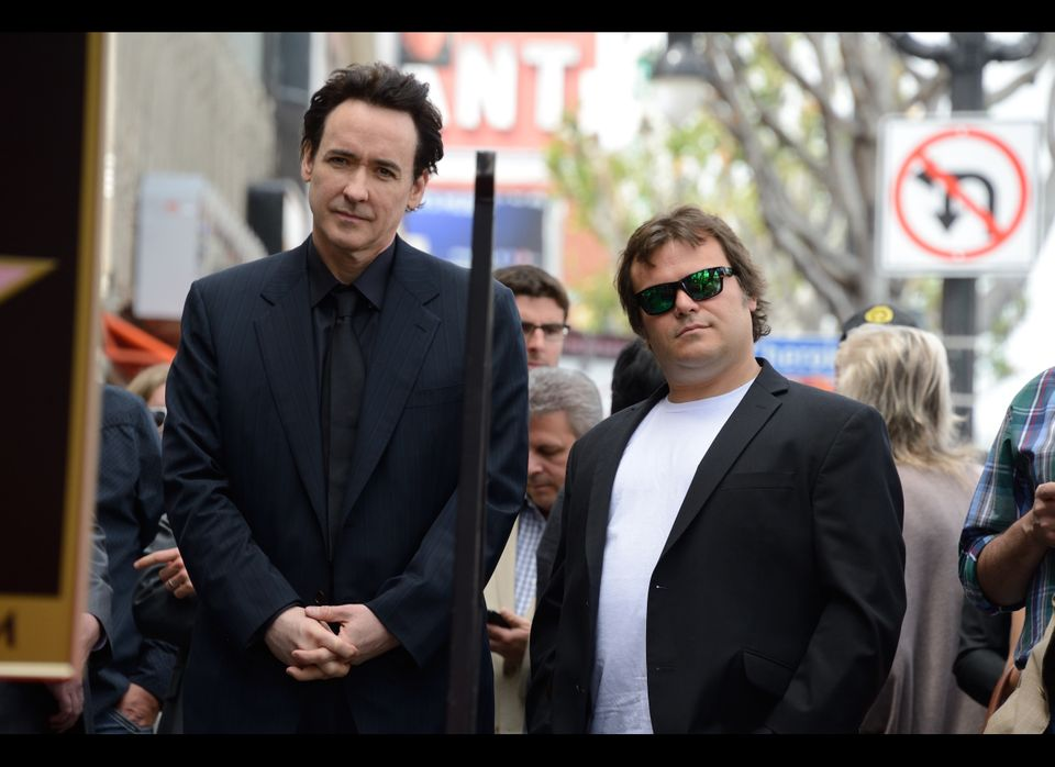 Actors John Cusack (L) and Jack Black at the star presentation ceremony for John Cusack on the Hollywood Walk of Fame in Holl
