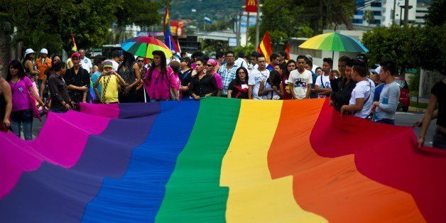 Gay rights activists participate in a demonstration marking the International Day Against Homophobia and Transphobia (IDAHOT)
