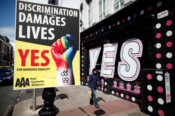 In this Tuesday, May 19, 2015 photo, yes campaign posters are seen in Dublin, Ireland, Tuesday, May 19, 2015. Barely a genera