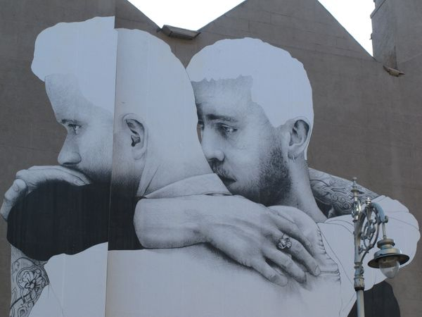 In this Thursday, April 23, 2015 photo, a gay rights mural decorates the side of a building in central Dublin, Ireland. Barel