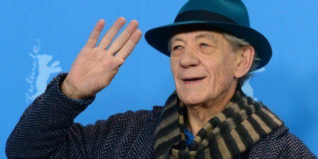 British actor Sir Ian McKellen poses for photographers during a photocall of the film 'Mr Holmes' presented in the competitio