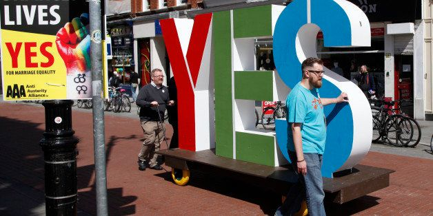 Members of the Yes Equality campaign begin canvassing in the center of Dublin, Ireland, Thursday May 21, 2015.  People from a