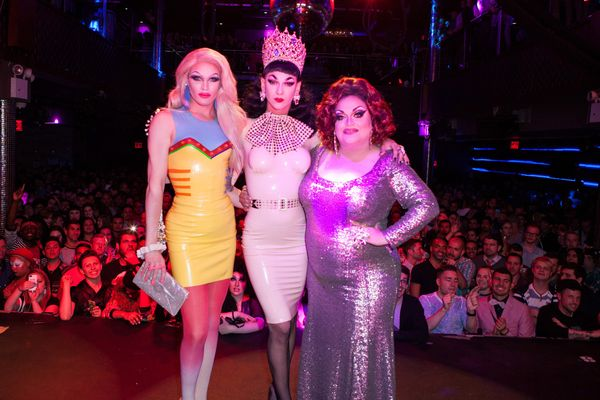 NEW YORK, NY - JUNE 01:  Winner of 'RuPaul's Drag Race' Season 7, Violet Chachki, Pearl and Ginger Minj at Stage48 on June 1,