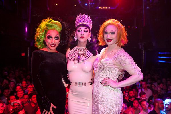 NEW YORK, NY - JUNE 01:  Winner of 'RuPaul's Drag Race' Season 7, Violet Chachki (C) with Bianca Del Rio and Jinkx Monsoon at
