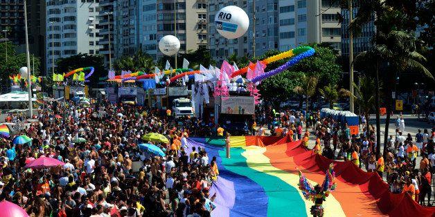 COPACABANA BEACH, RIO DE JANEIRO, BRAZIL - 2014/11/16: Thousands took part in Rio de Janeiro's LGBT Gay pride parade on its 1