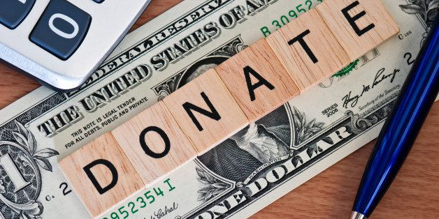 the letters donate on  dollar...