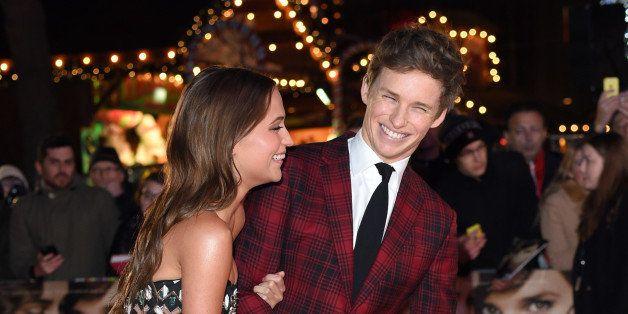 LONDON, ENGLAND - DECEMBER 08:  Eddie Redmayne and Alicia Vikander attend the UK Film Premiere of 'The Danish Girl' on Decemb