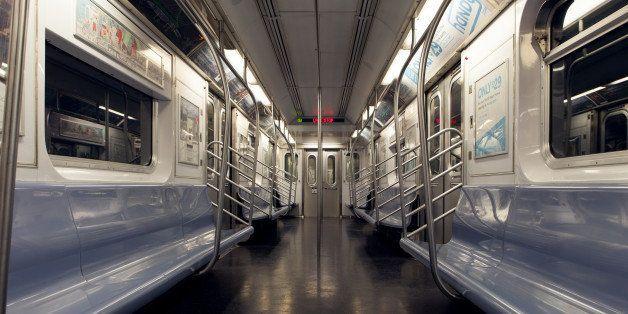 Empty subway train car in New York City.