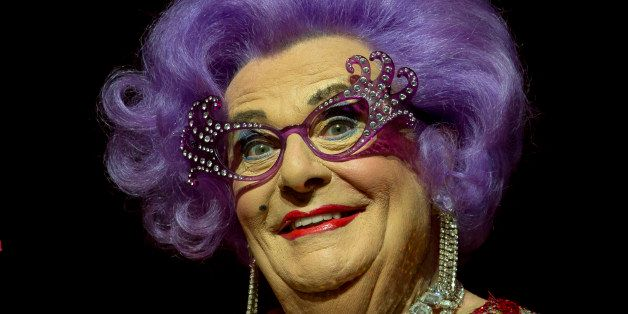 Australian TV presenter Barry Humphries performs on stage as Dame Edna for the Farewell Tour, at the London Palladium theatre