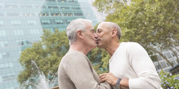 Gay Couple Kissing at Park in New York
