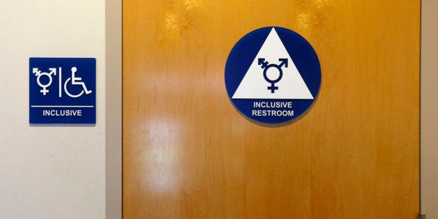 A gender-neutral bathroom is seen at the University of California, Irvine in Irvine, California September 30, 2014. The Unive