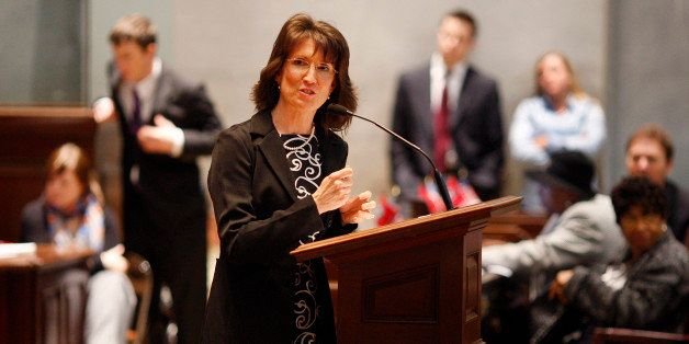 Rep. Susan Lynn, R-Mt Juliet, speaks in the House Chamber of the Tennessee State Capitol in Nashville, Tenn. on Monday, Feb.