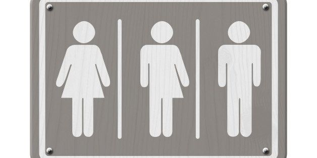 Transgender Sign, Gray and White Sign with a woman, male and transgender symbol