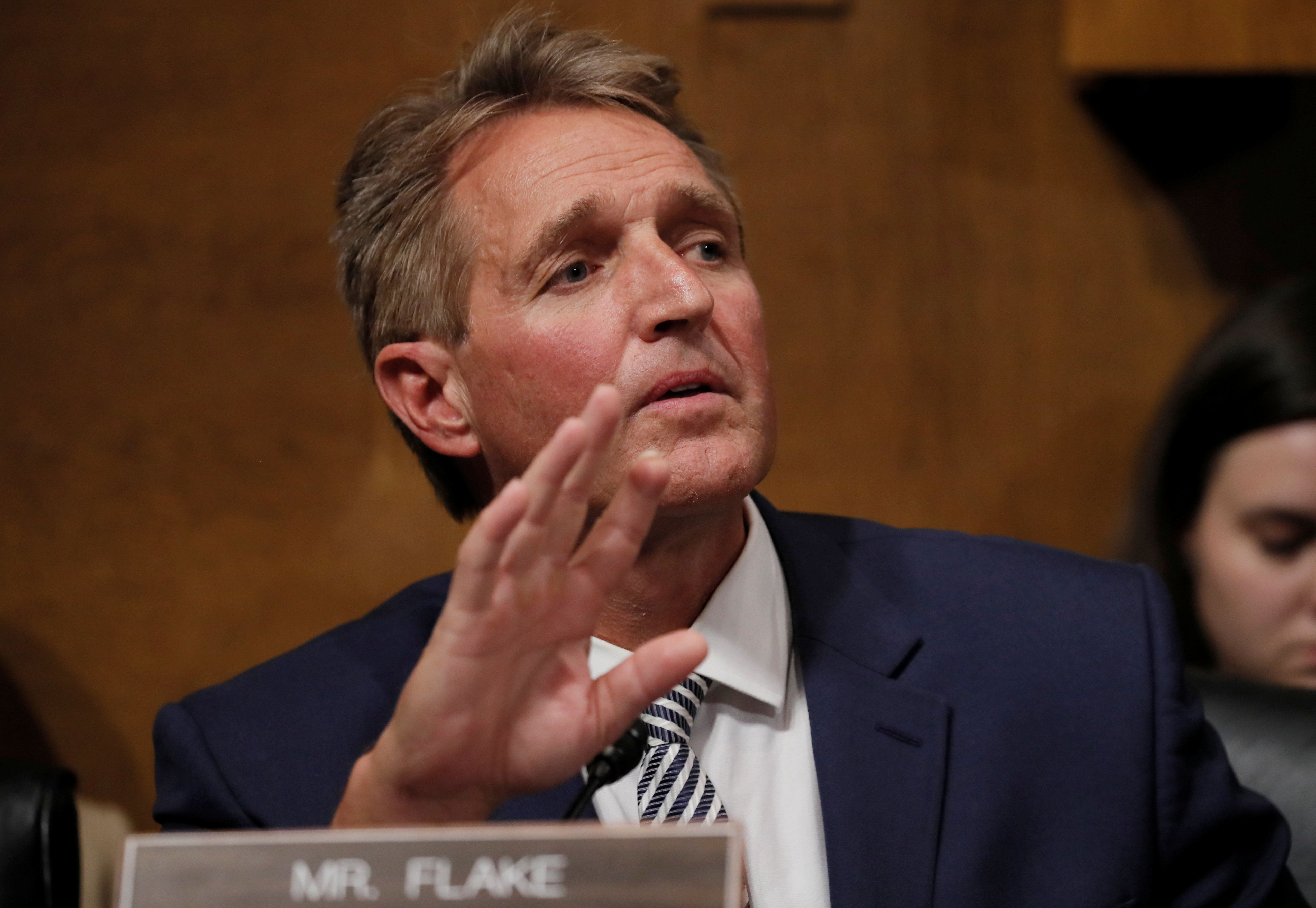Senate Judiciary Committee member Sen. Jeff Flake (R-AZ) speaks during a Judiciary Committee meeting to vote on the nomination of Judge Brett Kavanaugh to be a U.S. Supreme Court associate justice on Capitol Hill in Washington, U.S., September 28, 2018. REUTERS/Jim Bourg