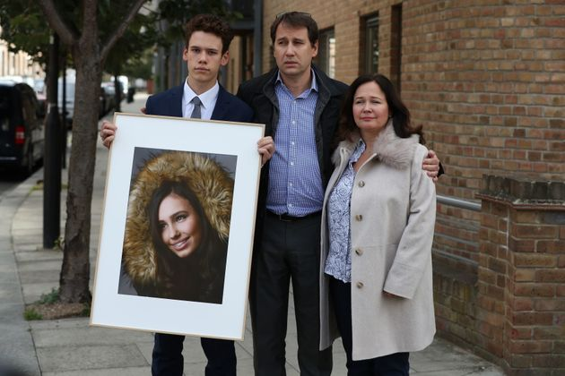 Nadim and Tanya Ednan-Laperouse, with their son Alex, outside West London Coroners Court, following the...