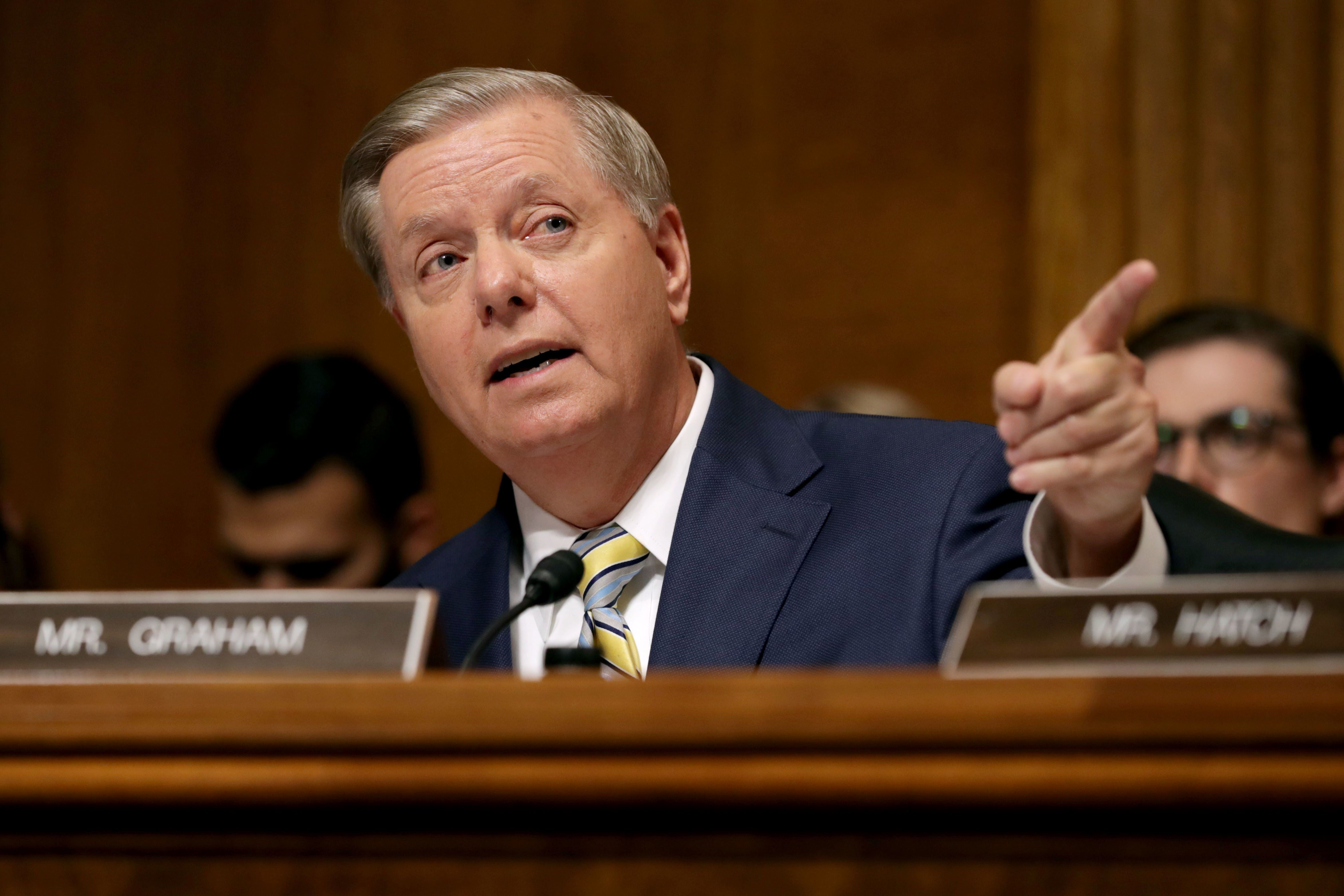 WASHINGTON, DC - SEPTEMBER 28: Senate Judiciary Committee member Sen. Lindsey Graham (R-SC) delivers remarks about Supreme Court nominee Judge Brett Kavanaugh during a mark up hearing in the Dirksen Senate Office Building on Capitol Hill September 28, 2018 in Washington, DC. The committee agreed to an additional week of investigation into accusations of sexual assault against Kavanaugh before the full Senate votes on his confirmation. A day earlier the committee heard from Kavanaugh and Christine Blasey Ford, a California professor who who has accused Kavnaugh of sexually assaulting her during a party in 1982 when they were high school students in suburban Maryland. (Photo by Chip Somodevilla/Getty Images)