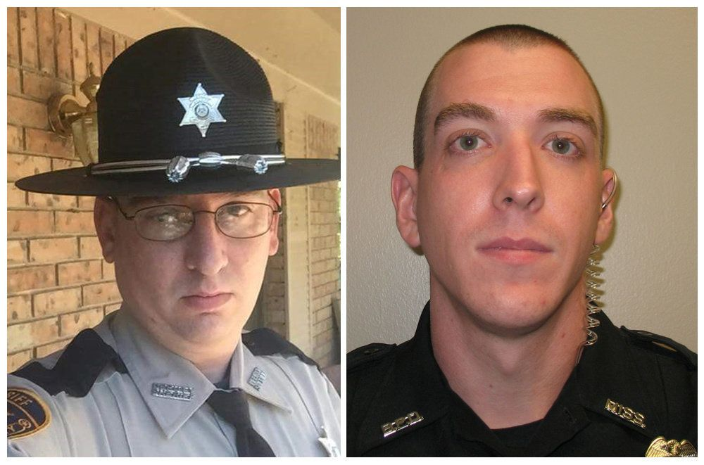 A combination picture of Patrolman James White, 35, and Corporal Zach Moak, 31, are in these undated photos in Brookhaven, Mississippi, U.S., provided September 29, 2018.    Mississippi Department of Public Safety/Handout via REUTERS   ATTENTION EDITORS - THIS IMAGE WAS PROVIDED BY A THIRD PARTY.   THIS PICTURE WAS PROCESSED BY REUTERS TO ENHANCE QUALITY. AN UNPROCESSED VERSION HAS BEEN PROVIDED SEPARATELY
