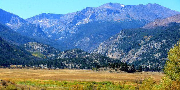 ESTES PARK, CO - SEPTEMBER 25: Tourists enjoy walking along a trail near Moraine Park in Rocky Mountain National Park in Este